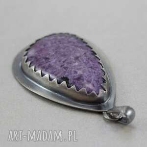 czaroit wisiorki fioletowe czaroitowa kropla w srebrze
