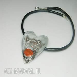 srebrne wisiorki wisior czerwone serce n5