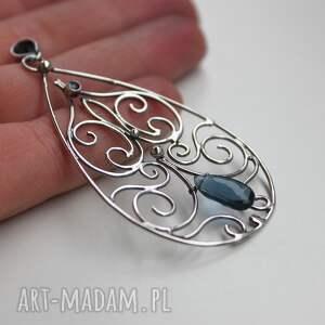 ręcznie wykonane wisiorki kwarc denim blue