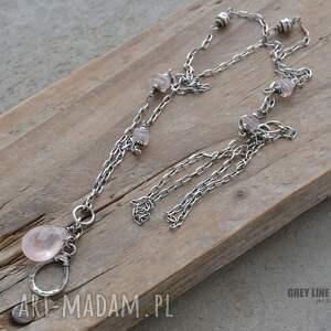 modne wisiorki srebro długi wisiorek z różowym kwarcem