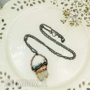ręcznie robione wisiorki naszyjnik wisior double - z kryształem