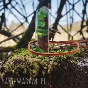 gustowne wisiorki wisior drewniany kryształ [wierzba