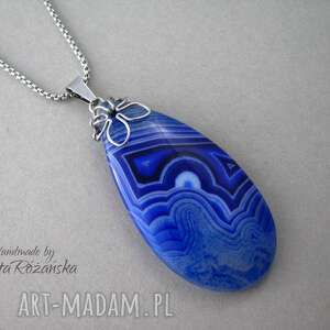 wisiorki agat duży wisior niebieski plaster