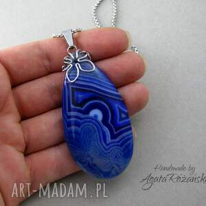 wisiorki plaster duży wisior agat niebieski