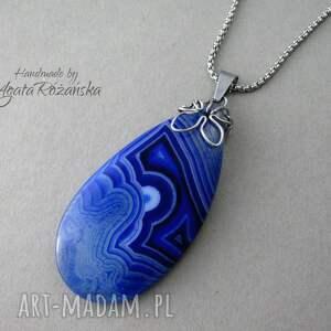 plaster wisiorki duży wisior agat niebieski