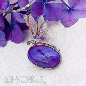 fioletowe wisiorki wisiorek z-kamieniem fioletowa ważka - naszyjnik srebrny