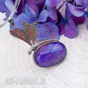 wisiorki wisiorek z-kamieniem fioletowa ważka - naszyjnik srebrny