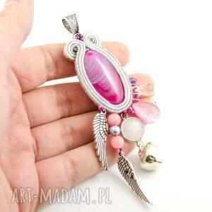 maternitynecklace wisiorki różowe fioletowo-srebrny wisior ciążowy
