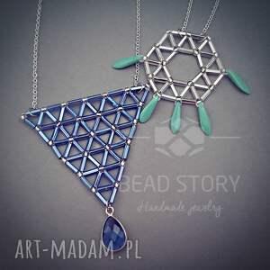 srebrne wisiorki geometria oryginalny, dizajnerski naszyjnik wykonany