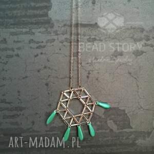 design turkusowe geometryczny wisior z turkusowymi
