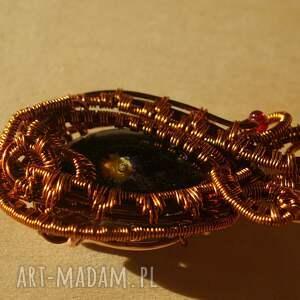 wire-wrapping wisiorki czarne intensywny fioł - zawieszka
