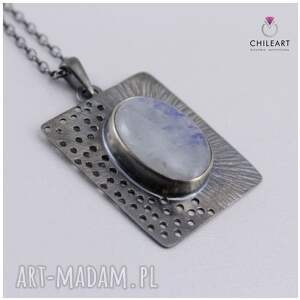 srebrne wisiorki komplet kamień księżycowy i srebro