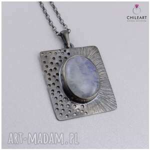 modne wisiorki komplet srebro kamień księżycowy