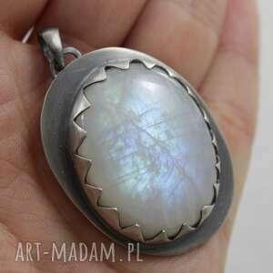 kamień wisiorki żółte księżycowy w srebrnych