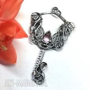 srebro wisiorki kluczyk z różowym kwarcem