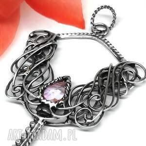 wisiorki wisiorek kluczyk z różowym kwarcem