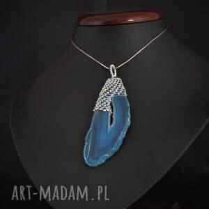 niebieskie wisiorki agat koronkowy niebieski