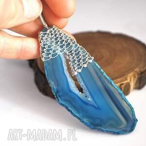 wisiorki agat koronkowy niebieski