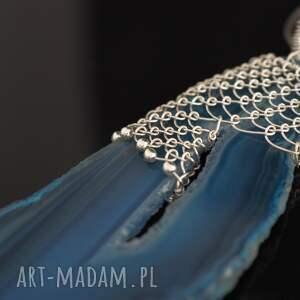 srebro wisiorki koronkowy niebieski agat