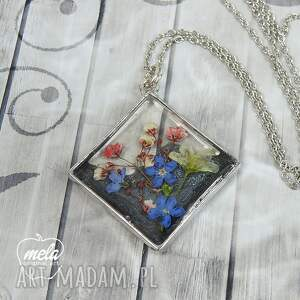 gustowne wisiorki naszyjnik 0603~mela~ wisiorek żywica i kwiaty
