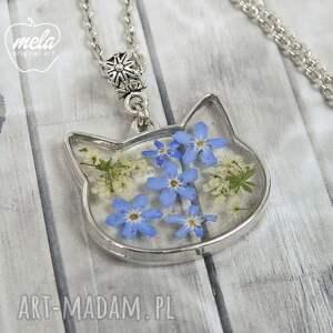 niebieskie wisiorki wisiorek 0634~mela~ kot żywica