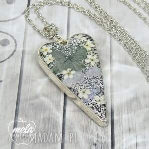 srebrne 0754~mela~ wisiorek serce żywica