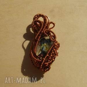 wisiorki wire-wrapping misterny fiołek - zawieszka