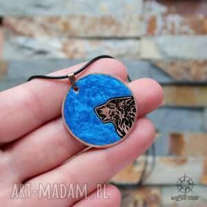 miedź wisiorki niebieski księżyc i wilk - wisior
