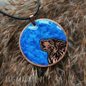 wisiorki miedź niebieski księżyc i wilk - wisior