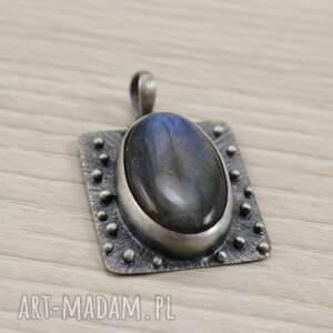 czarne wisiorki niebieski labradoryt i srebro