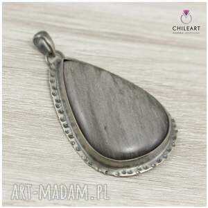 frapujące wisiorki srebrna biżuteria obsydian srebrzysty i srebro