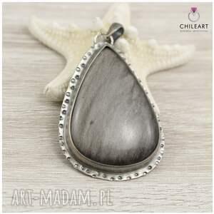 ChileArt Obsydian srebrzysty i srebro - wisior 1164a - rękodzieło srebrny