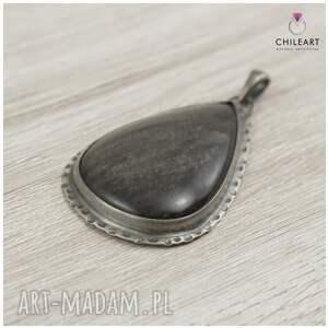 czarne z obsydianem obsydian srebrzysty i srebro