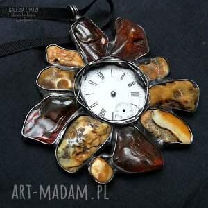 ręczne wykonanie wisiorki efektowny bursztynowy zegar, wisior