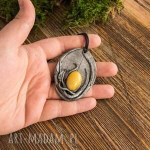 Sirius92 Wisior Liść z żółtym jadeitem
