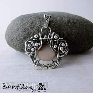wisior wisiorki beżowe quyosh - kamień słoneczny, srebro