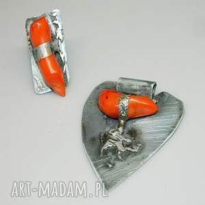 wisiorki: Serce z koralem N36 - unikatowa biżuteria wisior