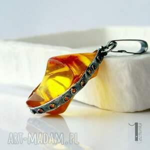 pomarańczowe wisiorki wisior słoneczny klejnot srebrny