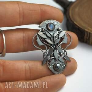 czarne wisiorki driady srebrny wisior księżycowy - pełnia