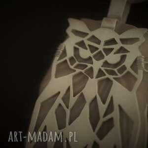 sowa wisiorki szare srebrny wisior geometryczna