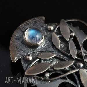 awangardowe wisiorki secesja srebrny wisior księżycowy - pełnia