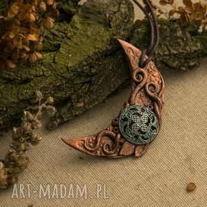 księżyc wisiorki turkusowe steampunowy wisior
