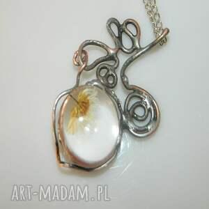 srebrne wisiorki szklany suszona stokrotka