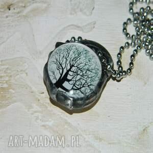 srebrne wisiorki wisior szklany wisior-drzewo