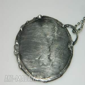 srebrne wisiorki wisior szklany witraż z mosiądzem