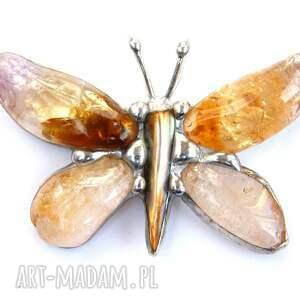 hand-made wisiorki wisior wisior: cytrynowy motyl