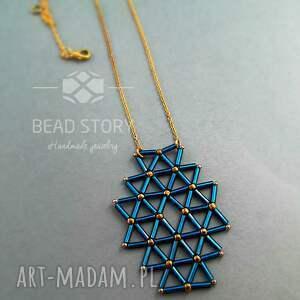 niebieskie wisiorki naszyjnik wisior geometryczny capri blue