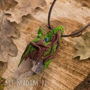 wisiorki kryształ-górski wisior leśny z kryształem i lapisem