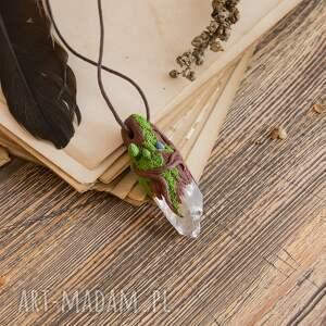 kryształ-górski wisiorki wisior leśny z kryształem i lapisem