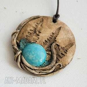 polymerclay wisiorki turkusowe wisior medalion z niebieską